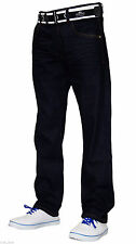 New Mens Designer Crosshatch Jeans Free Belt Denim Regular Straight Cut Pants