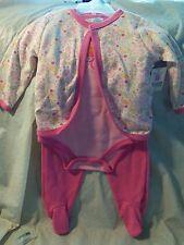 NEW- 3 Piece Kidgets Newborn Pink Flowers Outfit - Pants, 1 Piece, Jacket 3/6 MO