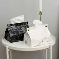 Marble Pattern Tissue Box Pu Leather Home Car Napkin Paper Container Paper  L1T4