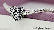 Beautiful Angelic Feathers Heart Wings European Charm Snake Chain Bracelet 20cm