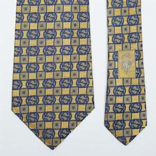 GUCCI TIE Blue GG Interlocking on Gold Check Skinny Woven Silk Necktie