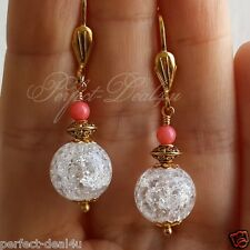 White Quartz Crystal & Pink Coral Gold Plated Leverback Round Earrings