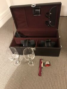 Faux Leather Wine Carry Case With Accessories