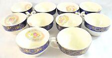 Vintage Madam Du Barry Royal Blue 22K Gold Tea Cups By Stetson