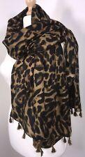 Leopard Print Scarf Pashmina Tassels Black Tan Soft Feel Oversized Long NEW