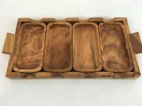 Rosewood Hors d'oeuvre Cheese Chips Snack 4 Removable Bowl Serving Tray
