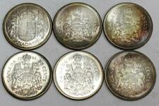 6x 1952 Canada 50 cents 1958 1959 1960 1961 1962 1963 Choice MS63 & MS64