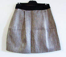 Rebecca Vallance Size 8 Metallic Stripe Waxed Tulip Skirt Leather Waistband $600
