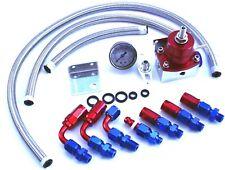 Red Universal Adjustable Fuel Pressure Regulator Oil 100psi Gauge AN 6 Fitting