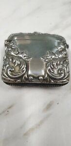 antique ornate silver plate fob vesta case