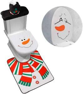 D-Fantix Snowman Santa Toilet Seat Cover And Rug Set Red Christmas Decor