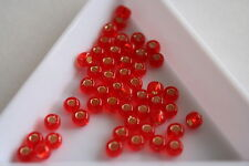 Silver Lined Ruby Toho Seed Beads. Size 6 4mm. 150 beads. #7392