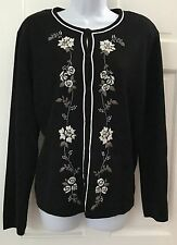 dressbarn Woman Black Button Down Cardigan SZ L Embroidered Floral Print Beads