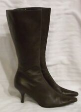 "Prada Boots Womens 7.5 Brown Mid Calf 2.5"" Heel Zip Leather Made in Italy 1904"