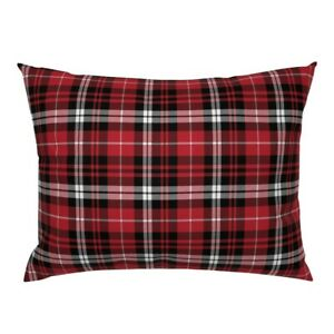 Plaid Red Black White Tartan Fall Winter And Buffalo Pillow Sham by Roostery