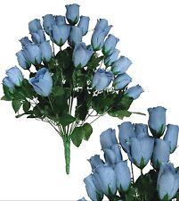 "24 Blue Rosebud 24""Bouquet Home Office Wedding Party Decor Silk Flower Leaf"