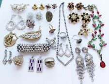 Large Lot of Vintage Rhinestone Jewelry Earrings, Rings, Necklaces & Bracelet