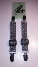 STIRRUPS 4 BIKERS.. DIAMOND PLATE .. MOTORCYCLE RIDER BUNGEE PANT CLIPS / CLAMPS