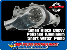 CAL CUSTOM SMALL BLOCK CHEV SHORT WATER PUMP POLISHED ALUMINIUM