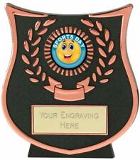 Emblems-Gifts Curve Bronze Happy Sports Day Trophy With Free Engraving