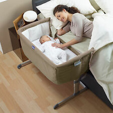 CHICCO DOVE GREY NEXT 2 ME HEIGHT ADJUSTABLE BABY CRIB SIDE SLEEPING FROM BIRTH