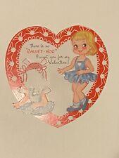 Vtg Nos Valentine Card Paper Doll Ballerina Balket Ameri-Card