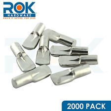 2000 PACK 5MM SHELF PIN WITH FIN STOP SPOON SHAPED CABINET SUPPORT PEGS NICKEL