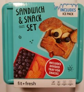 New Fit & Fresh Sandwich & Snack with Ice Pack 4 piece Set Teal Color