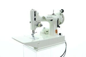 Vintage Singer 221K Featherweight White Sewing Machine w/ Case & Accessories