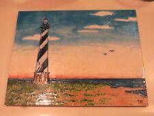 Light house tile art water sky birds signed