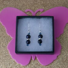 Beautiful Earrings With Blue Sunstone & Diamantino 4.2 Gr.3.5 Cm.Long + Hooks