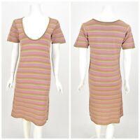 Womens Gudrun Sjoden Tunic Dress Short Sleeve Striped Cotton Scoop Neck Size S