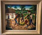 "Andre Normil Original Haitian Village Oil Painting on Masonite 28x24"" Framed"