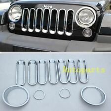 11pcs Chrome Turn Signal Headlight Trim Grille Cover For Jeep JK Wrangler 07+