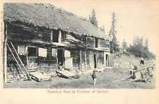 Quebec Canada children outside thatched barn antique pc Y14895