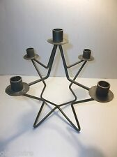Vintage WROUGHT IRON CANDELABRA Metal Candle Holder STAR 11""