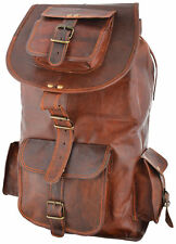 Real Handmade leather Men's Backpack Bag laptop Satchel briefcase Brown Vintage