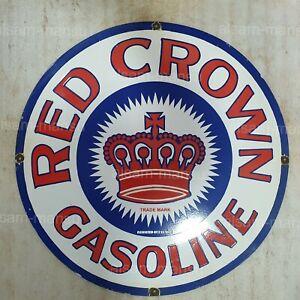 RED CROWN GASOLINE 30 INCHES ROUND VINTAGE ENAMEL SIGN