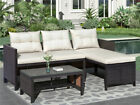 Us 3pcs Rattan Table Sofa With Cushions Seating Patio Garden Outdoor Furniture