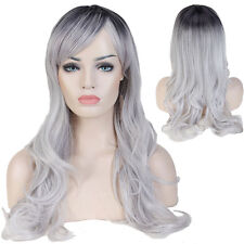 Women Long Wigs Straight Wavy Full Wig Heat Resistant Ombre Hair Cosplay Party #