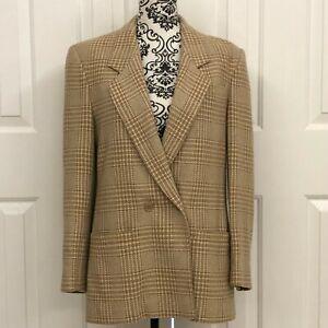 Pendleton Sz 10 Vintage Wool Double-Breasted Plaid Blazer Brown Beige Jacket