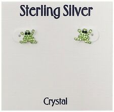Women's - Nwt $40 - Green Inlay Crystal Frog Stud Sterling Silver Post Earrings