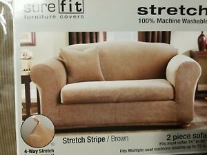 Sure Fit Stretch Stripe 2-Piece - Sofa Slipcover -BROWN  NEW