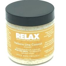 Relax Spa & Bath AROMATHERAPY Crystals ~ Verbena Lime Coconut Fragrance ~ 4oz h8