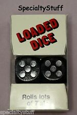 NEW 1 PAIR LOADED DICE ROLLS LOTS OF 7's BLACK WITH SILVER NUMBERS PKG 18mm (YI)