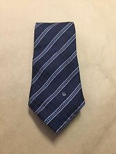 Christian Dior Men's Dark Blue Tie with White and Blue Stripes