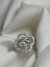 Halo Engagement Ring - CZ - Clower - Promise Ring in sterling silver setting