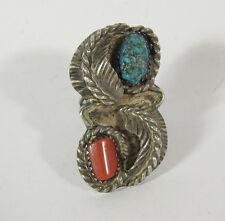 Tamaño 7 Anillo Turquesa Rojo Coral Hoja hecho a mano .925 Plata de ley pluma