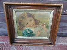 Antique Pre-Victorian Paper on Board Print Girl w Daisys Deep Well Walnut Frame