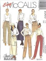 UNCUT McCalls Sewing Pattern Misses Pull on Pants Skirt 2503 XS S Basic OOP SEW